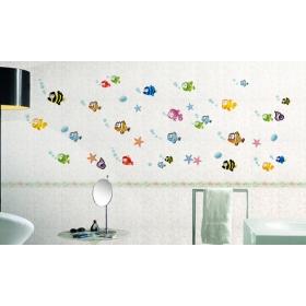Ay618 Multicolour Fish Bathroom Wall Sticker  Jaamso Royals