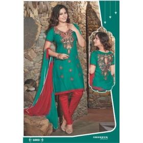 Satin With Embroidery Elegant Semi Stitched Salwar Kameez