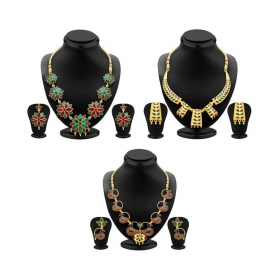 Multicolour Vintage Collection Necklace Set Combo (pack Of 3)