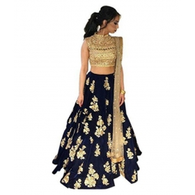 Blue Bangalore Silk Unstitched Semi Stitched Lehenga