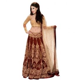Brown Faux Georgette Lehenga
