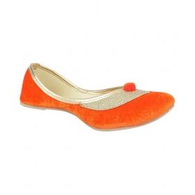 Steps Orange Flat Ethnic Footwear