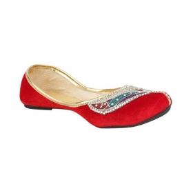 Steps Red Flat Ethnic Footwear