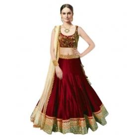 Maroon Bangalore Silk Circular Semi Stitched Lehenga