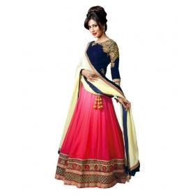Pink Bangalore Silk Circular Semi Stitched Lehenga