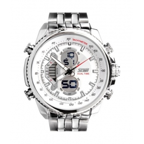 Skmei White Trendy Casual Stainless Steel Quartz Watch