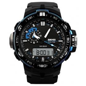 Skmei Black And Blue Round Analog-digital Watch