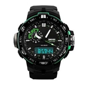 Skmei Black And Green Round Analog-digital Watch