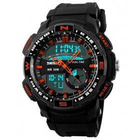 Skmei Black And Red Round Dial Analog-digital Casual Watch