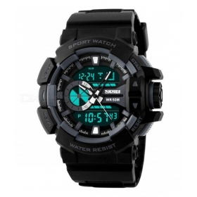 Skmei Black Round Dial Analog-Digital Casual Watch