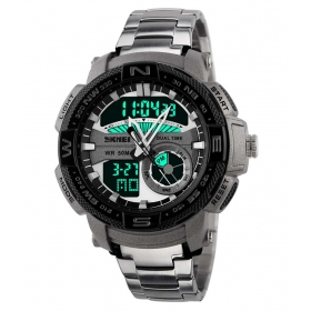 Skmei Silver Round Dial Analog-Digital Casual Watch