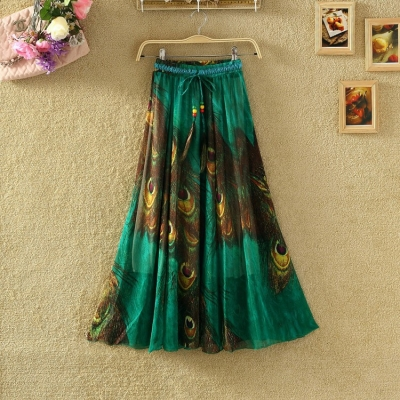 Green Digital Printed Skirt