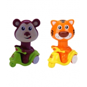 Press & Go Scooter Riding Tiger And Monkey Animal Toys