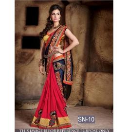 Sas Creations Red Silk Georgette Saree
