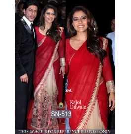 Sas Creations Fab Georgette Red Saree