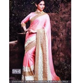 Sas Creations Pink Silk Georgette Saree