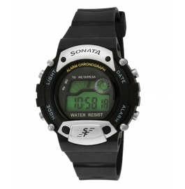 Sonata Digital Watch With Light Alarm Stop Day Date