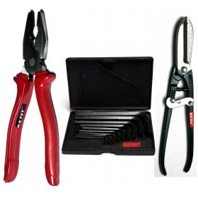 Ketsy 727  3 Pcs. Hand Tool Kit(allen Key 9 Pcs.,combination Plier 8 Inch, Metal Cutter 8 Inch)