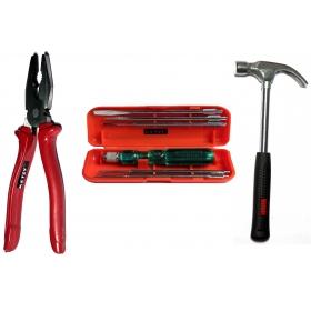 Ketsy 729  3 Pcs. Hand Tool Kit(screwdriver Set Of 6 Pcs.,combination Plier 8 Inch, Claw Hammer 1/2lb Steel Shaft)