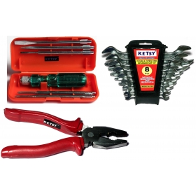 Ketsy 730  3 Pcs. Hand Tool Kit(screwdriver Set Of 6 Pcs.,combination Plier 8 Inch, Doe Spanner 8 Pcs.)