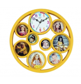 Wall Clock With Photoframe Sq-1820(yellow)