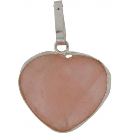 Natural Rose Quartz Pendent - Heart Showpiece - 2 Cm  (stoneware, Pink)
