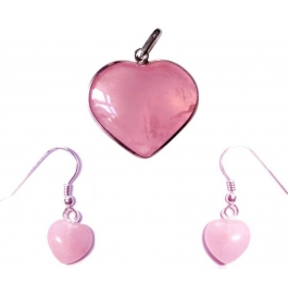 Rose Quartz Pendent And Earrings Showpiece - 2 Cm  (stoneware, Pink)