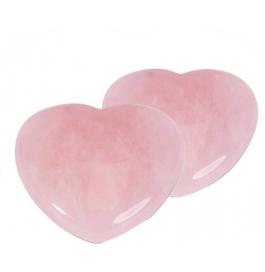 Rose Quart Heart Showpiece - 7 Cm  (stoneware, Pink)