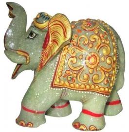 Green Gemstone Painted Elephant Showpiece - 10 Cm  (stoneware, Multicolor)