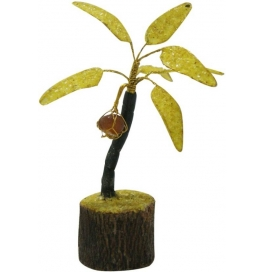 Yellow Coconut Gem Tree Showpiece - 15 Cm  (stoneware, Yellow)