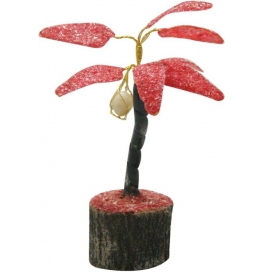 Red Coconut Gem Tree Showpiece - 15 Cm  (stoneware, Red)