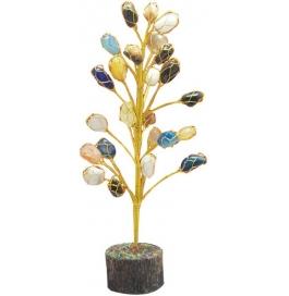 Colourful Semi Precious Gemstones Tumble Tree Showpiece - 20 Cm  (stoneware, Multicolor)