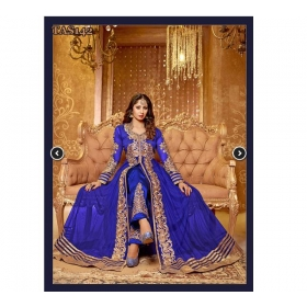 Blue Embroidery Net Long Salwar Suit