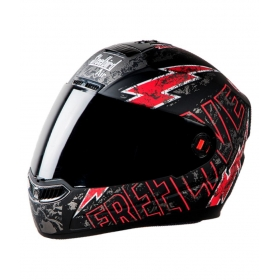 Steelbird Free Live Matt White With Red - Full Face Helmet Black L
