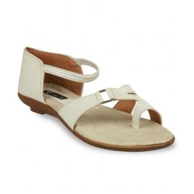 9 White Flat Sandals