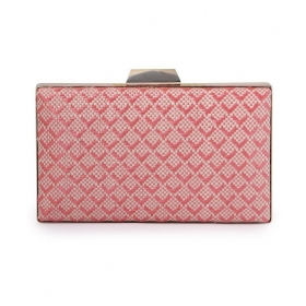 Pink Faux Leather Box Clutch