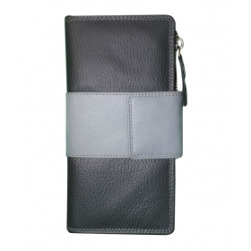 Style 98 Black And Grey Leather Traveller Tri Fold Wallet For Women