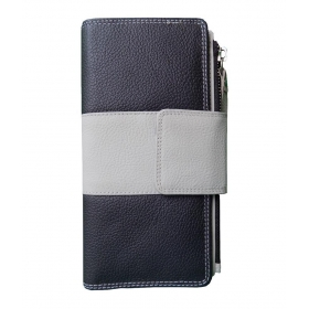 Black And Light Grey Leather Traveller Tri Fold Wallet For Women