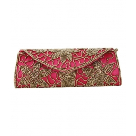 Pink Silk Box Clutch
