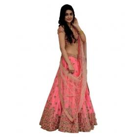 Pink Bangalore Silk Semi Stitched Lehenga