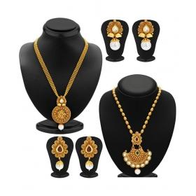 Golden Necklace Set - Set Of 2
