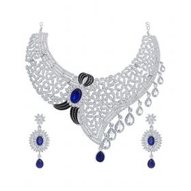 Designer White Artificial Diamond Necklace Set For Women