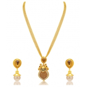 Peacock Gold Plated Ad Necklace Set For Women