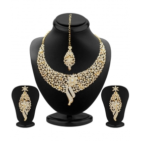 Designer Gold Plated Australian Diamonds Necklace Set