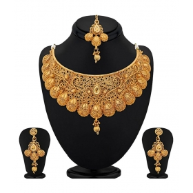 Gold Plated Kundan Choker Necklace Set For Women