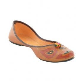 Mehta's Tan Flat Ethnic Footwear