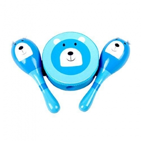 Surker 1pcs Wooden Toys,musical Instruments Combination Three-piece Suit,baby Perception Instrument