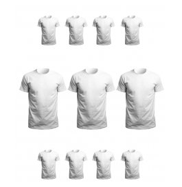 Men's Round Neck White T-shirt Pack Of 11