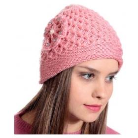 Peach Woolen Cap For Women - Pack Of 1