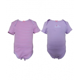 Teddy's Choice Pink And Purple Cotton Body Suit - Pack Of 2